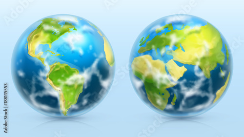 Planet Earth. 3d realistic vector icon set - 188145553