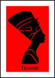 Egyptian silhouette icon. Queen Nefertiti. Vector portrait Profile isolated on red background. - 188145973