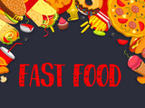 Fast food vector fastfood snacks meals poster