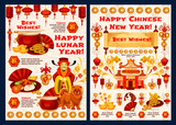 Chinese New Year vector wish greeting card