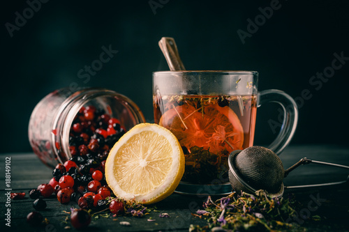 Herbal tea with lemon and forest berries