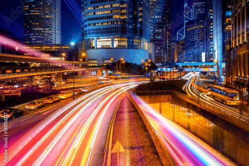 Foto op Aluminium Nacht snelweg double exposure with traffic light in the Hong Kong city