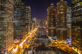 Chicago night skyline river and buildings - 188158571
