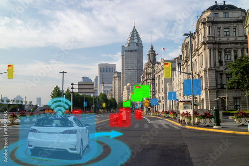 Wall mural iot smart automotive Driverless car with artificial intelligence combine with deep learning technology. self driving car can situational awareness around the car, letting it navigate itself 360 degree