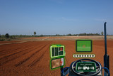 Fototapety iot smart industry robot 4.0 agriculture concept,industrial agronomist,farmer using autonomous tractor with self driving technology , augmented mixed virtual reality to collect, access, analyze soil