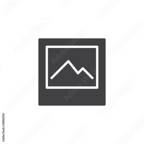 Foto op Canvas Wit Landscape picture icon vector, filled flat sign, solid pictogram isolated on white. Nature photo symbol, logo illustration.