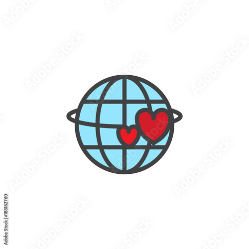 Planet and two red hearts filled outline icon, line vector sign, linear colorful pictogram isolated on white. Valentine's day symbol, logo illustration. Pixel perfect vector graphics - 188162760
