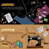 Studio on tailoring tools seamstress fashion designer needlework sewing machine hand drawn vector illustration. Tailor banners vector - 188164325