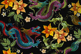 Embroidery dragons and narcissus flowers seamless pattern. Classical embroidery Asian dragon and beautiful flowers seamless pattern. China dragons vector - 188164502