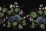 Classical embroidery blossoming plum on black background. Embroidery plums branch seamless pattern template fashionable clothes, t-shirt design - 188164530