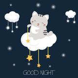 Cartoon cat sitting on the cloud - 188165111