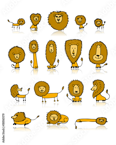 Poster Funny lions set, sketch for your design