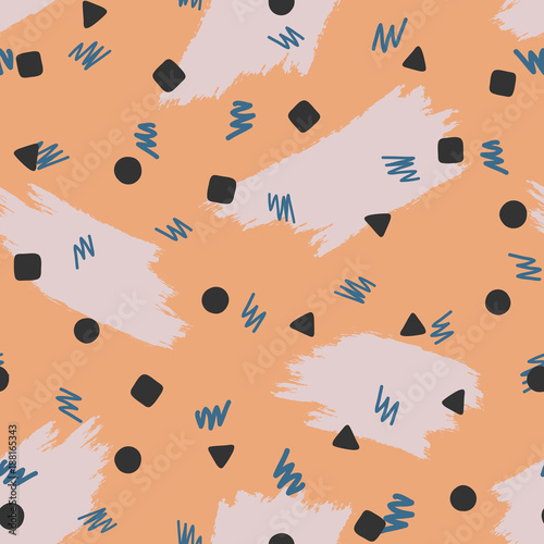 Cotton fabric Abstract seamless pattern with brush strokes and geometric shapes. Grunge, sketch, watercolor.