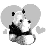 two pandas sit in each other's arms with her back sketch vector graphics monochrome drawing - 188165508