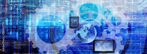 Foto Murales virtual cyber internet technology