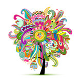Floral magic tree, sketch for your design