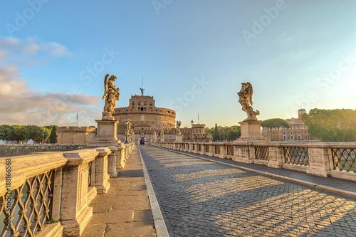 Rome sunrise city skyline at Castel Sant Angelo and Tiber River, Rome (Roma), Italy - 188166568