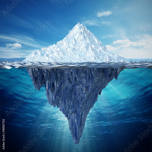 Realistic 3D illustration of an iceberg. 3D illustration
