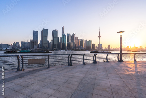 Aluminium Shanghai cityscape in shanghai at sunset
