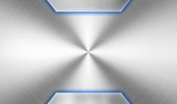 silver metal plate with blue light background