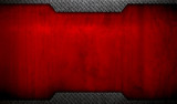 grunge red metal with diamond plate background