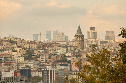 Foto Murales view of the city of Istanbul from a height
