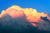 blue sky and cumulus clouds at sunset
