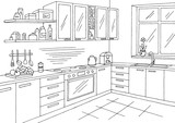 Kitchen room graphic black white interior sketch illustration vector - 188175935