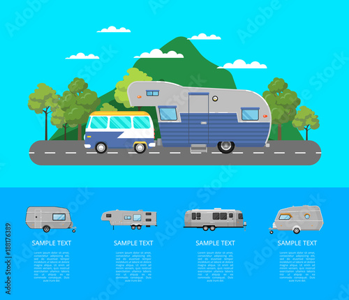 Fotobehang Turkoois Country traveling poster with camping trailer