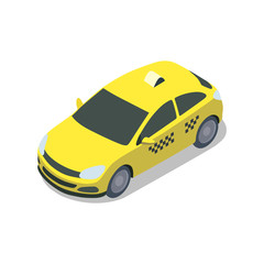 Yellow taxi cab isolated isometric 3D icon