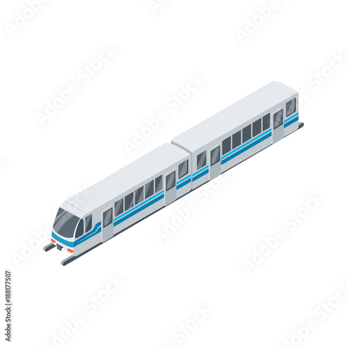 Fototapeta Modern train isolated isometric 3D icon
