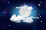 Blue night sky with clouds, shiny stars and moon