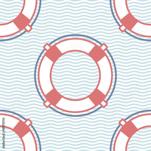 Lifebuoy marine vector seamless pattern