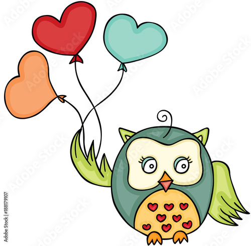 Cute owl holding heart shaped balloons