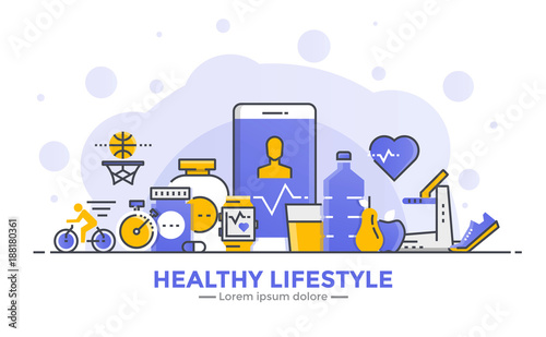 Flat Line Modern Concept Illustration - Healthy lifestyle