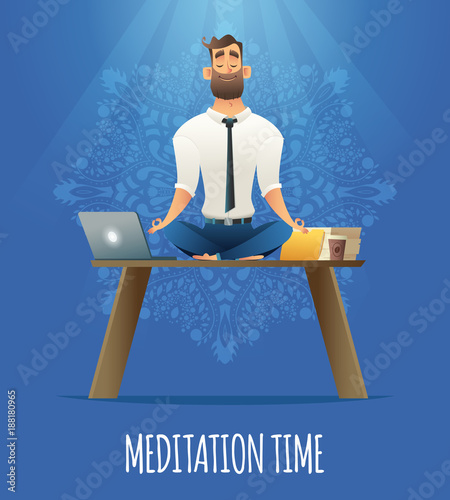 Wall mural Yoga at job. Businessman relaxing in lotus position on table with computer at the desk. Cartoon style man meditation in office.