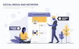 Flat Modern Concept Illustration - Social Media - 188182157