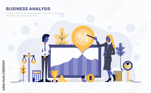Flat Modern Concept Illustration - Business Analysis