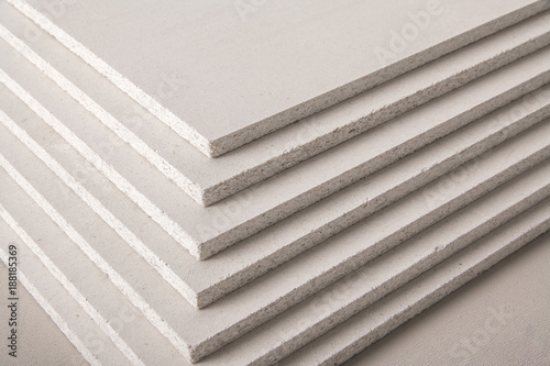 Several pieces of chipboard with texture isolated on white background - 188185369
