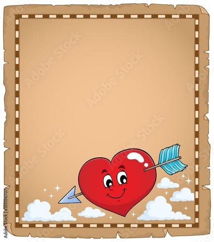 Deurstickers Voor kinderen Valentine heart topic parchment 1