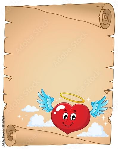 Deurstickers Voor kinderen Valentine heart topic parchment 4