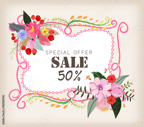 Spring sale concept. Summer background with chamomile and delicate background - 188186946