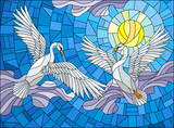 Illustration in stained glass style with two Swans on the background of sky, sun and clouds - 188188550