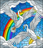 Illustration in stained glass style with a pair of Swans on the background of sky, sun , clouds and rainbow - 188188588