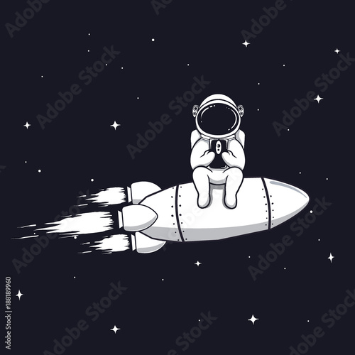Fototapeta Funny astronaut sits on rocket and play with mobile phone,smartphone.Prints vector design.