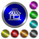 Store front luminous coin-like round color buttons - 188194352