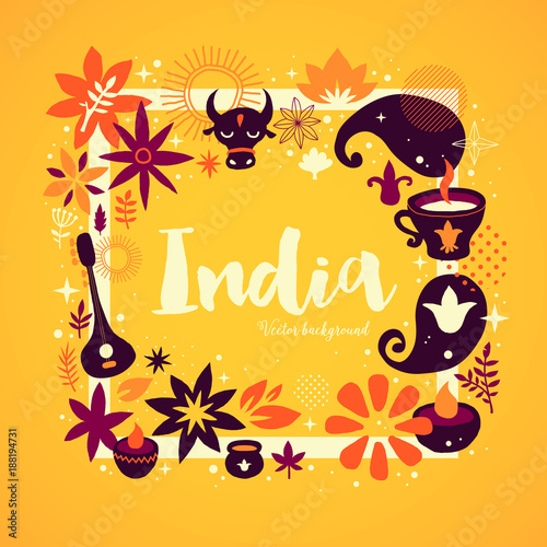 Plakát India background/banner template with abstract, floral and national elements