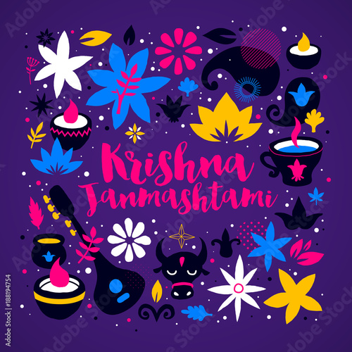 Plakát Krishna Janmashtami design template with abstract colorful elements on deep violet background