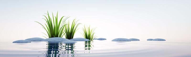 Steine und Gras im See Querformat © peterschreiber.media
