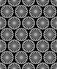 Black and white symmetrical round daisy flowers seamless pattern, vector